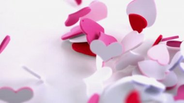 Pink heart confetti dropping on the floor — Stock Video