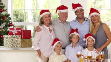 Family posing for Christmas photo — Stock Video