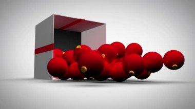 Christmas kırmızı topları ile ekran animasyon — Stok video