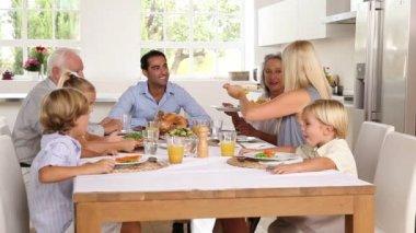 Family sharing holiday dinner — Stock Video