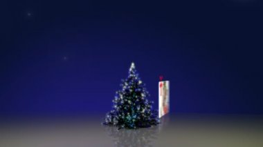 Christmas tree and some family's animations — Stock Video