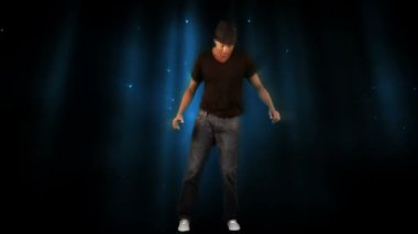 Stylish man dancing on digital background — Stock Video
