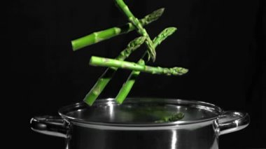 Asparagus falling in pot on black background — Stock Video