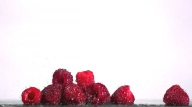 Water falling on raspberries — Stock Video