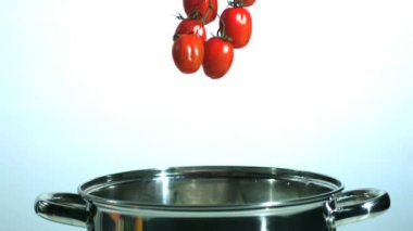 Vine tomatoes and parsnip falling in saucepan — Stock Video