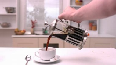 Coffee being poured in the kitchen — Stock Video