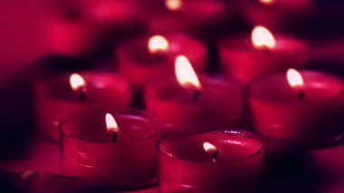 Pink candles flickering in a breeze — Stock Video