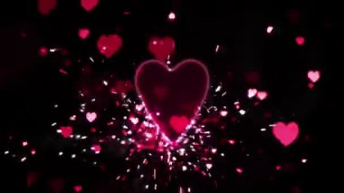 Pink heart confetti and sparks flying against pink heart — Stockvideo