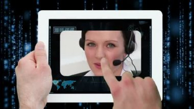 Hands using digital tablet displaying call centre workers — Vídeo Stock