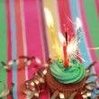 Birthday cupcake with sparkler and candle — Stock Video #25670673