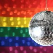 Disco ball revolving against gay pride flag — Stock Video #25672187