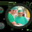 Hand selecting various surgical videos from menu - Stock Photo