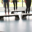 Aerobic class with their trainer — Stockvideo