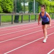 Women running relay race — Stock Video