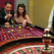 Man placing bet for roulette — Stok video