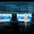 Stock Video: Woman reporting about breaking news