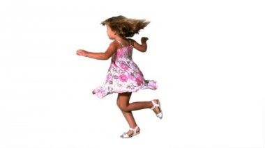Girl twirling in floral dress — Stock Video