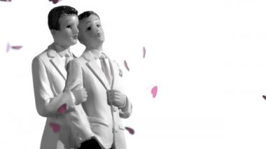 Confetti falling on gay groom cake toppers in black and white — Stock Video