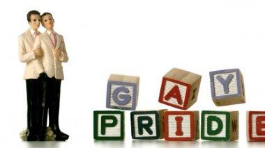Gay groom cake toppers beside blocks falling and spelling gay pride — Stock Video