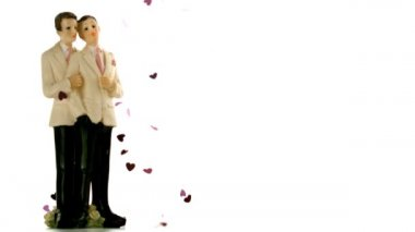Confetti falling on gay groom cake toppers — Stock Video