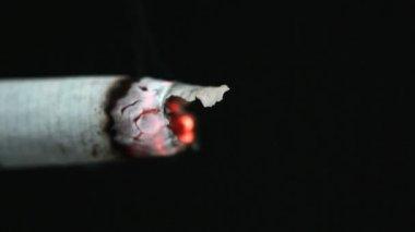 Sigaretta accesa con la cenere — Video Stock