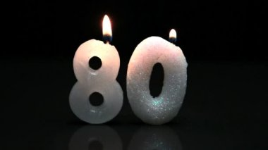 Eightieth birthday candles — Stock Video