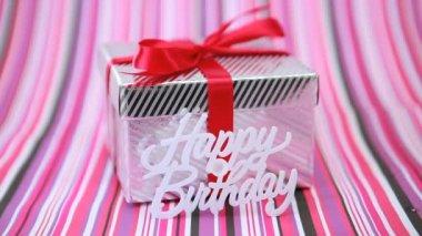 Focus on birthday gift — Stock Video