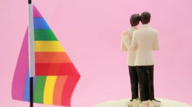Gay groom cake toppers in front of rainbow flag revolving — Stock Video
