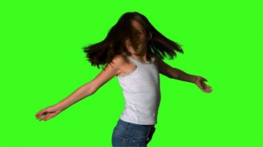 Little girl twirling on green screen — Stock Video