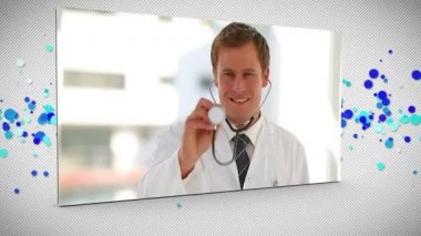Montage of medical clips with white human figure — Stock Video