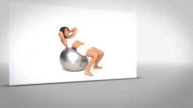 Clip of woman on exercise ball on grey background — Stock Video