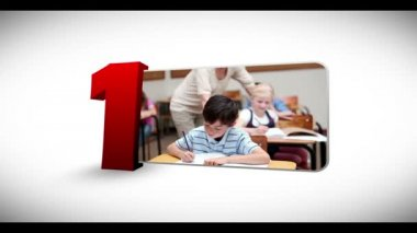 Animated numeration of children doing various activities — Stock Video #25677353