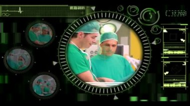 Hand verschillende chirurgische video's selecteren in menu — Stockvideo