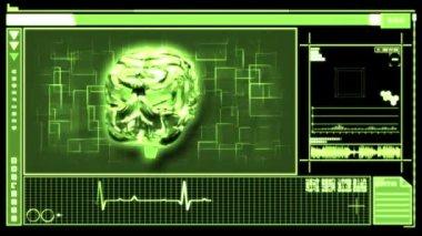 Digital interface featuring revolving brain — Stock Video