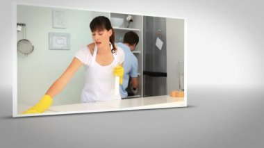 Clip of woman cleaning kitchen — Stock Video