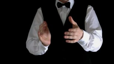 Casino dealer clapping hands — Stock Video