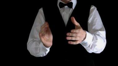 Krupier kasyno klaskanie ręce — Wideo stockowe
