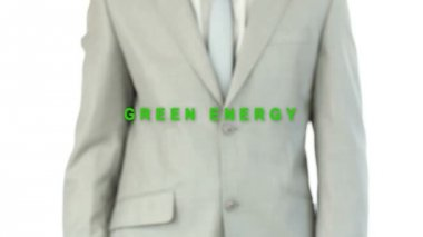 Businessman pressing the green energy button — Stok video