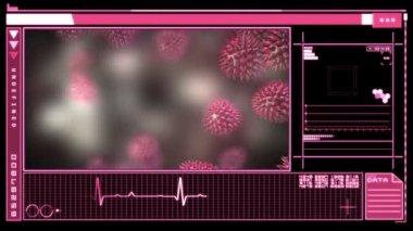 Medical digital interface showing virus — Stock Video