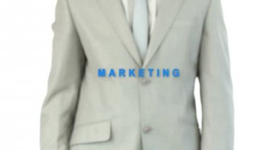 Business man touching the marketing buttong — Vidéo