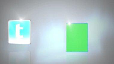 Copyspace と社会的ネットワークの記号が表示されます。 — ストックビデオ