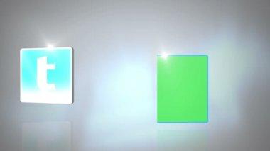 Sociala nätverk symboler visas med copyspace — Stockvideo
