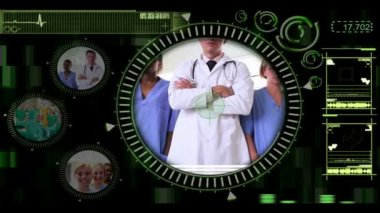 Hand selecting clips of various medical teams on interactive menu — Stock Video
