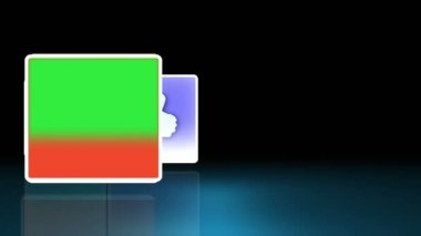 青色の背景に表示される記号 — ストックビデオ