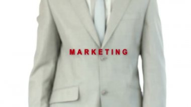 Businessman pressing the marketing button — Vidéo