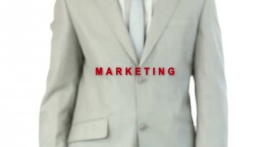 Businessman pressing the marketing button — Stock Video