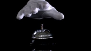 Hand dinging hotel bell — Stock Video