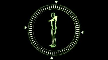 Figure of man revolving in moving dial circle — Stock Video