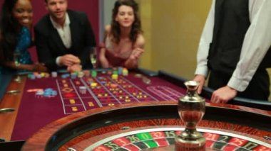 Man winning at roulette — Stock Video