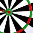 Stock Video: Dart landing bulls eye